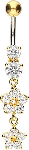 PIERCINGLINE Bauchnabelpiercing Titan | 2 Blumen 925er Silber | Piercing Bananabell Banane | Farbenauswahl