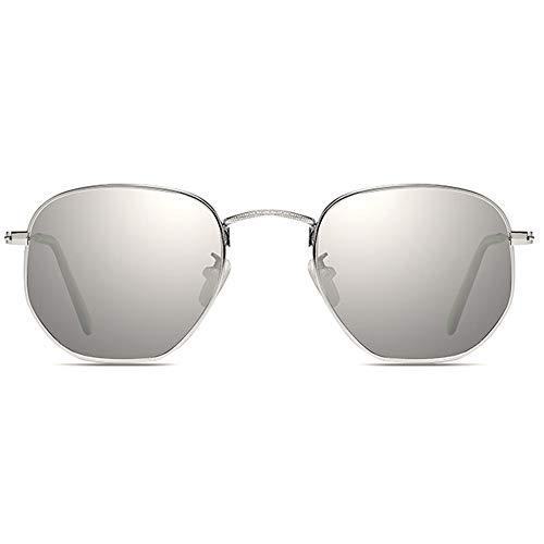 Kaper Go Las Gafas De Sol UV400 De Metal Polarizado De Metal Al Aire Libre Visten A Hombres Y Mujeres De Tendencia Azul/Plata con Las Mismas Gafas De Sol De Conducción (Color : Silver)