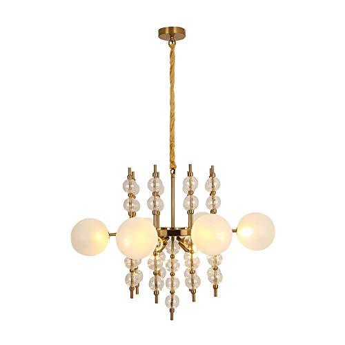 WEM Candelabro, candelabros modernos E27, candelabro de iluminación con 6 bolas de vidrio, iluminación colgante, luz de techo Magic Bean Art para comedor, sala de estar, dormitorio,Fregado de oro.