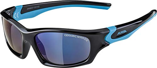 ALPINA Unisex - Kinder, FLEXXY TEEN Sportbrille, black-cyan gloss, One Size