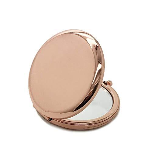 LASISZ 6,5 cm Portable Solid Color Metal Round Case Double-Side Pop-Up Pocket Makeup Mirror, Rose Gold