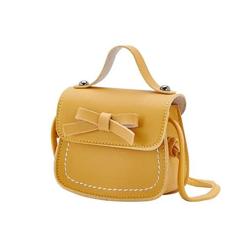 MINGPAI Bolso de moda arco nudo monedero niños niña bebé bolso de mensajero niños princesa escuela bolso de hombro fresco y lindo (Yellow,10 * 11.5 * 5.5cm)