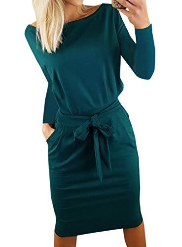 Ajpguot Ajpguot Damen Freizeit Kleid mit Gürtel Elegant Rundhals Midi Kleider Blusenkleider Ballkleid Festkleid Frauen Langarm Tasche Wickelkleider Abendkleider Partykleid, Dunkelgrün, L