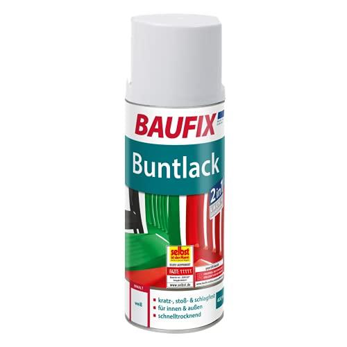 BAUFIX Buntlack Spray weiß, 400ml, glänzend, Buntlack Sprühdose für außen und innen, kratzfest, stoßfest, schlagfest, schnelltrocknend
