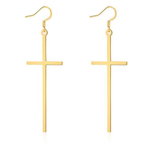 VU100 Pendientes largos de acero inoxidable, Pendientes Mujer con colgante en forma de cruz (3in*0.9in),Oro