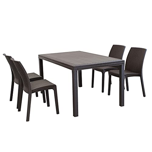 MilaniHome Set Tavolo da Giardino Rettangolare Fisso Cm 150 X 90 con 4 Sedie in Wicker Stampato Marrone da Esterno Giardino