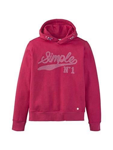 TOM TAILOR Mädchen Strick & Sweatshirts Hoodie mit Schrift-Print Raspberry Sorbet|pink,152