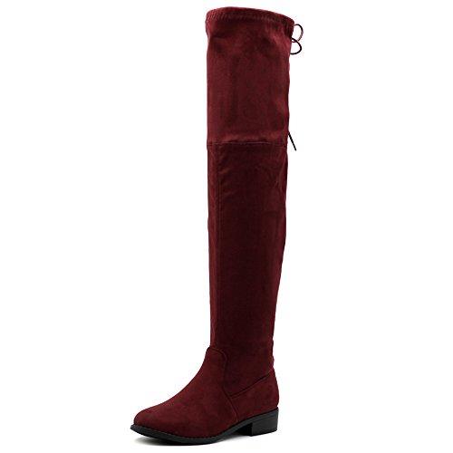 Ollio Damen Schuhe Faux Wildleder oder Kunstleder Verstellbarer Kordelzug Stretch über Knie Reißverschluss Flache Lange Stiefel TW8, Rot (Wein-Wildleder), 37 EU