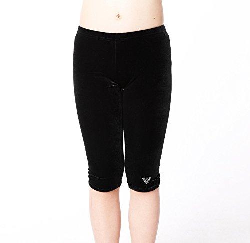 CrystalsRus Plain Black Gymnastiek Leggings Velvet Capri Dance slijtage workout Ballet panty's Gymnastiek Leggings voor meisjes(K) Door Varsany