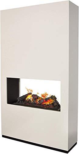 Ambiace Weiss Xaralyn, freistehender durchsichtiger Kamin ideal als Raumteiler, Dimplex Wasserdapf Cassette 600
