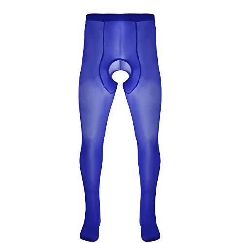 inhzoy Los Hombres Seda de Hielo Pantys Enterpierna Abierto Pantyhose Elásticas Medias Sexy Leggings para Chicos Azul One Size