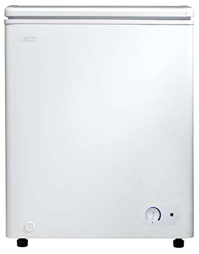 Danby DCF038A2WDB-3 3.8 Cu.Ft. Garage Ready Chest Freezer with Basket and Front-Mount Thermostat, Perfect for Dorm, Mud Room, Basement, Kitchen