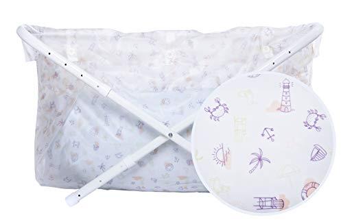 Bibabad Bañera plegable para bebé, antideslizante, bañera portátil para niños de 1 a 8 años, accesorios de baño para bebés pequeños, con botones