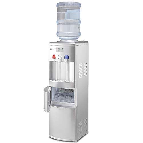 COSTWAY 2-in-1 Water Cooler Dispenser with Built-in Ice Maker, Freestanding Hot Cold Top Loading Water Dispenser, 27LBS/24H Ice Maker Machine with Child Safety Lock (Sliver)