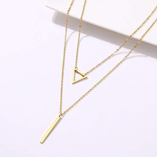 letaowl Collar de mujer colgante doble triángulo hueco palo colgante de acero inoxidable joyería creativa oro