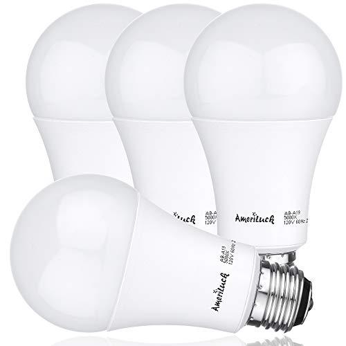 AmeriLuck 3-Way LED A19 Light Bulb 50-75-100W Equivalent 3000K Warm White (4 Pack)