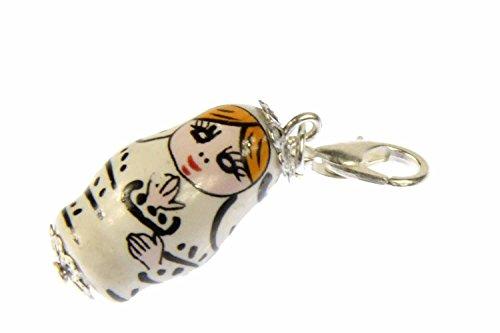 Miniblings Matroschka Babuschka Russland Charm russische Puppe weiß - Handmade Modeschmuck I Kettenanhänger versilbert - Bettelanhänger Bettelarmband - Anhänger für Armband