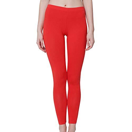 Celodoro Damen Leggings, stretchige Jersey Hose aus Baumwolle - Rot L