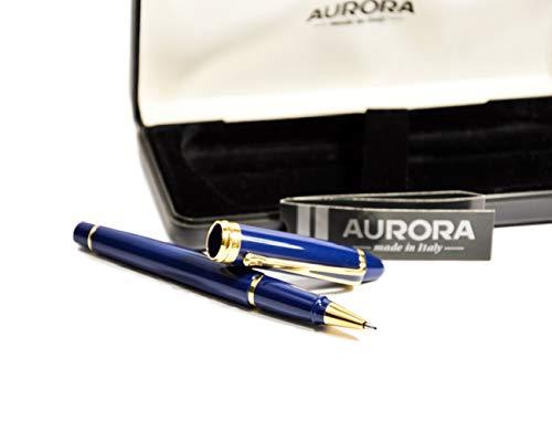 Aurora Kugelschreiber mit blauem Harzkörper und goldfarbenem Rand mit Kappe und Chrom-Finish.