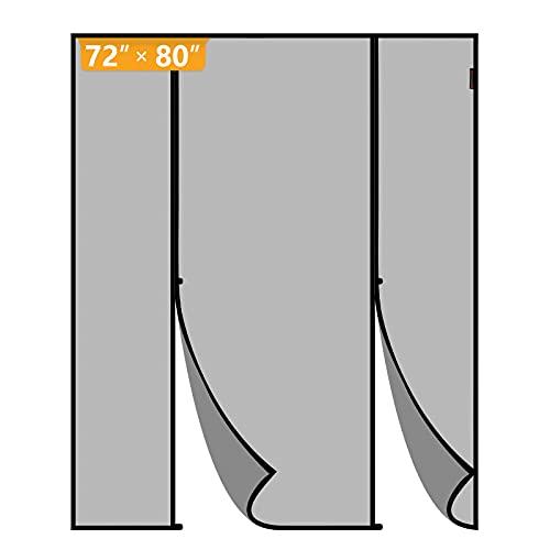 Yotache Magnetic Screen Door Fits Door Size 72 x 80, Double Door Screen Curtain for Sliding Door Fit Doors Size Up to 72'W x 80'H Max