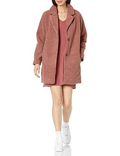 Amazon Brand - Daily Ritual Women's Teddy Bear Fleece Oversized-Fit Lapel Coat, Dusty Rose,Small