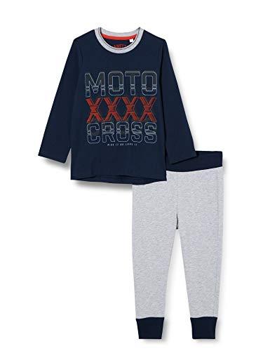 Sanetta Schlafanzug Shadow Blue Pijama Deportivo Gran Logotipo de Moto Cross en el Pecho, Azul, 164 cm para Niños