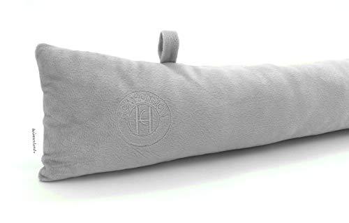 heimtexland ® Zugluftstopper Windstopper Fenster-Kissen Tür-Dichtung mit Laschen 85x14 Silber Typ650
