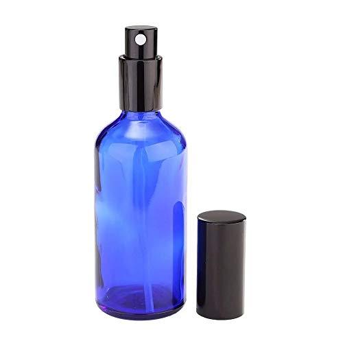 JOMSK Botellas de Spray para Limpieza 2 Piezas de 100 ml Azul de Cristal del Aerosol de la Botella de Perfume Recargable aceites Esenciales con tapar el Frasco/Pipeta/Atomizador