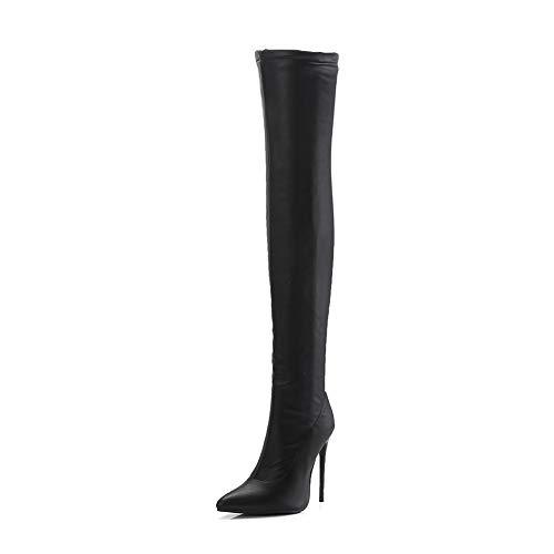 Femme Hiver Elastique Bottes Cuissardes Talons Aiguilles Dessus du Genou Boots Talon Haut Bottes en Cuir Bout PointuL'Automne Noir Taille EU 35-45,Noir,EU40/UK7