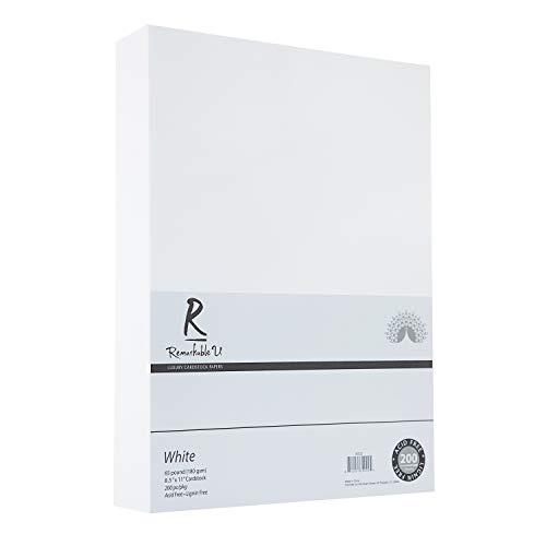 Papel de cartulina de color blanco de alta calidad, 21,6 x 27,9 cm, textura suave de 29,5 kg, tarjeta de núcleo sólido para manualidades y álbumes de recortes   200 hojas