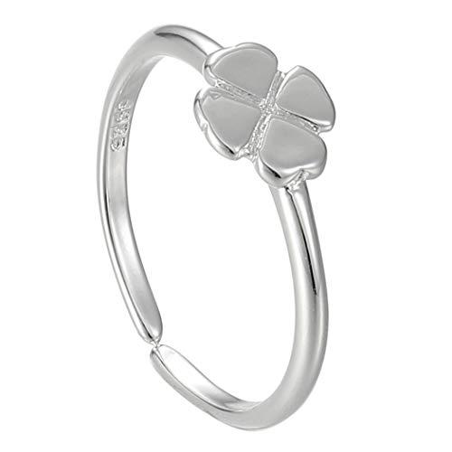 Ushiny Anillo de trébol de cuatro hojas de plata para siempre ajustable anillos abiertos personalidad anillo de compromiso joyería para mujeres y niñas