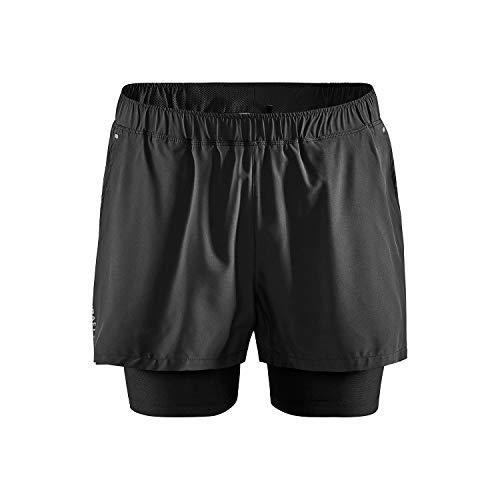 Craft ADV Ess 2in1 STR Shorts Pantalon de Course, Noir, L Homme