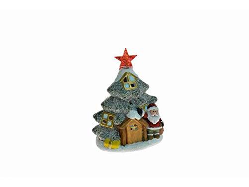 Nataluna Albero di Natale con Babbo Natale in Ceramica con LED Altezza CM.19