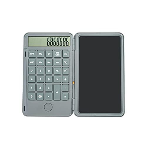 Tableta de escritura LCD 2 en 1 con calculadora recargable, almohadillas de dibujo reutilizables borrables para contabilidad y estudiantes en el hogar, la escuela y la oficina(Plata)