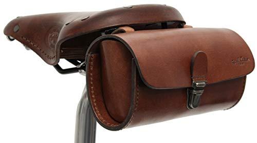 Gusti Satteltasche Leder - Raymond P. Fahrradtasche Zubehör Fahrrad Diebstahlsicherung Sattel Vintage Retro Diebstahlsicher Braun