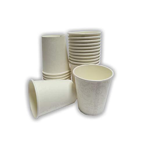 Palucart 100 Vasos de Papel para Café 250 ML (8 OZ) Damasco biodegradables Cartón para Bebidas Calientes Cappuccino