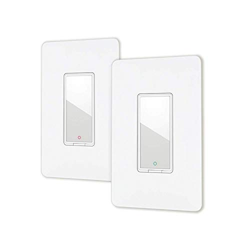 Smart light switch by Lumiman, Compatible with Alexa, Google Assistant, Single Pole, Schedule, Remote Control Neutral Wire Required, Easy Installation, ETL Listed 2Pack