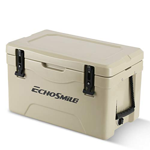 EchoSmile 30 Quart Rotomolded Cooler, Portable Ice Chest Cooler with Durable Handles, Keep Ice Up to 5days, Khaki Ice Cooler Suit for Camping, Travelling, Fishing