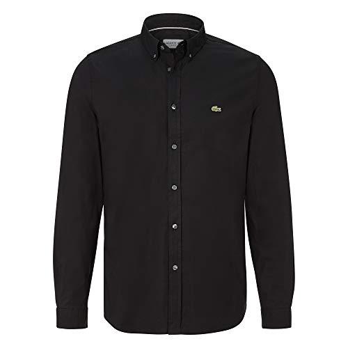 Lacoste Herren CH7221 Oberhemd Langarm, Männer Hemd,Button-down,einfarbig, Slim Fit,Black(031),41 EU (41)