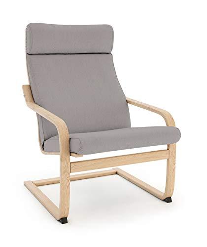 Vinylla Funda de repuesto para sillón compatible con IKEA Poäng (diseño de cojín 3, algodón, gris)