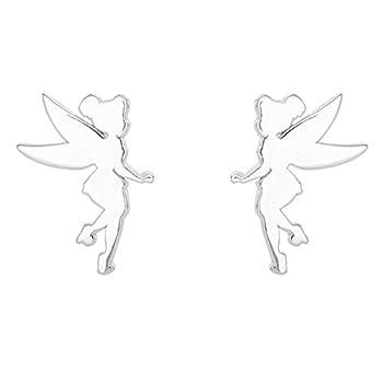 Disney Tinkerbell Sterling Silver Fairy Silhouette Stud Earrings
