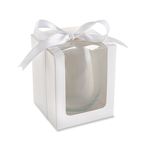 Kate Aspen Gift Boxes for Stemless Wine Glass, 9-Ounce, White, Set of 12