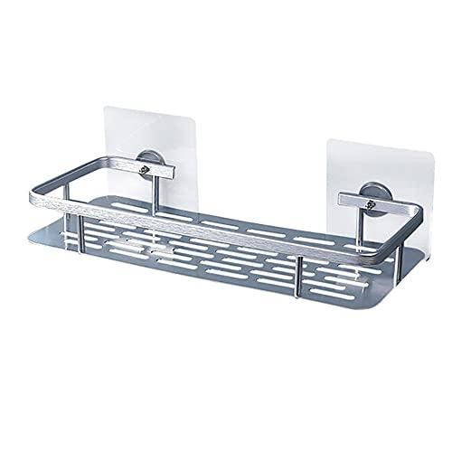 No Drilling Shower Shelf - Space Aluminum Adhesive Bathroom Shelves Caddy For Shampoo Kitchen Storage Basket (Square Shelf)32x13.4x4.8cm