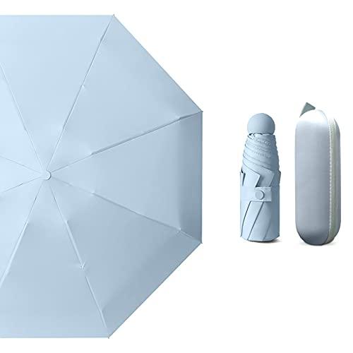 Xiauyu - Paraguas plegable, resistente y duradero, mini bolsillo, pequeño paraguas con toldo reforzado con revestimiento de vinilo de apertura automática/cierre (azul)