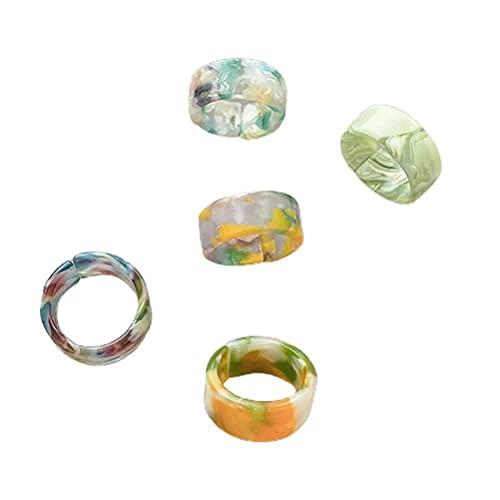 Gazaar 5 anillos de acrílico vintage gruesos de resina colorido anillo de dedo anillo de diamante lindo plástico transparente color caramelo dedo anillo de moda cuadrado gema para niñas y mujeres