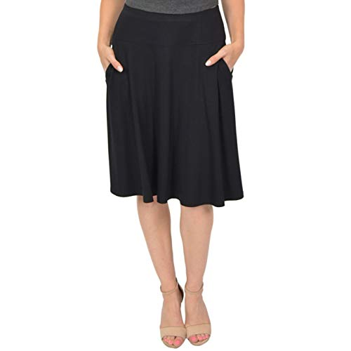 Stretch is Comfort Women's A-Line Skirt with Pockets Black Medium