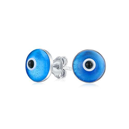 Protección espiritual redonda azul Nazar mal ojo stud pendientes para las mujeres adolescente Murano vidrio 925 plata de ley 9MM en Turquía