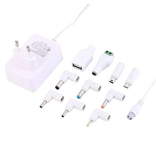 DEYF Blanco UE 5V 3.0A 2.5A 2A 1.5A 1.0A 0.5A 0.5A Adaptador de CA Fuente de alimentación Cargador de Pared con 10 Puntas DC para Raspberry PI, Alexa Echo, Cámara CCTV, Cámara IP y más