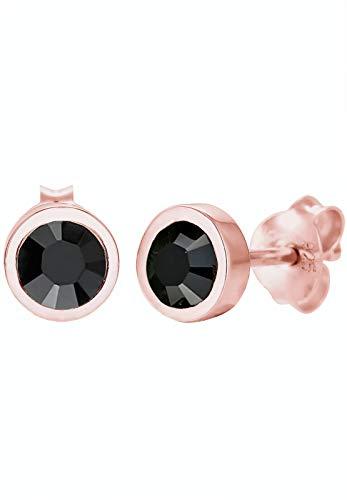 Elli Pendientes para mujer de plata 925 con cristales Swarovski negros, talla redonda - 0302110216