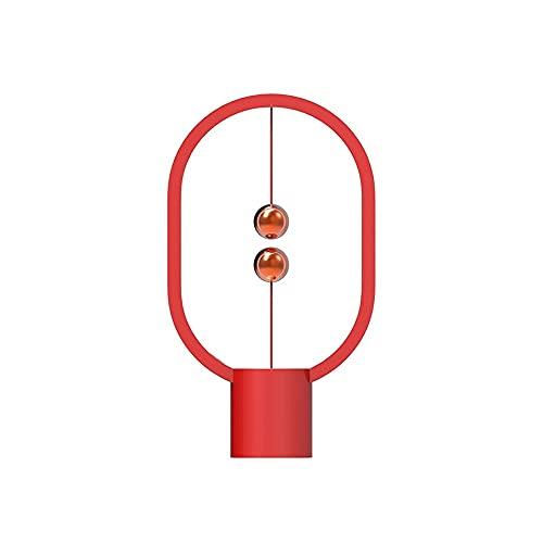 Zoo-yiltd Flexo Led Escritorio USB Mini Equilibrio Recargable DIRIGIÓ Lámpara de Mesa Ellipse Magnético Mid-Air Switch Eye-Cuidado Night Light Control Touch Touch (Color : Red)